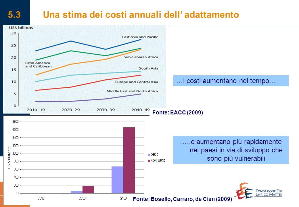 Impatti dei cambiamenti climatici e strategie di adattamento in Italia. Una valutazione economica 23 5.3Una stima dei costi annuali dell' adattamento