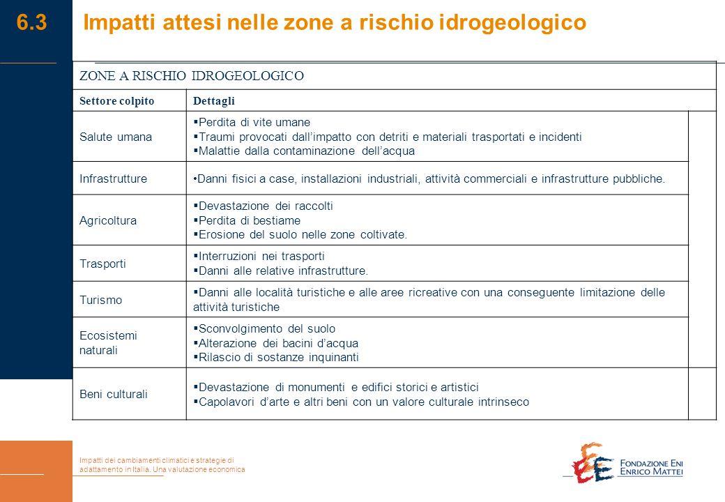 Impatti dei cambiamenti climatici e strategie di adattamento in Italia. Una valutazione economica ZONE A RISCHIO IDROGEOLOGICO Settore colpitoDettagli