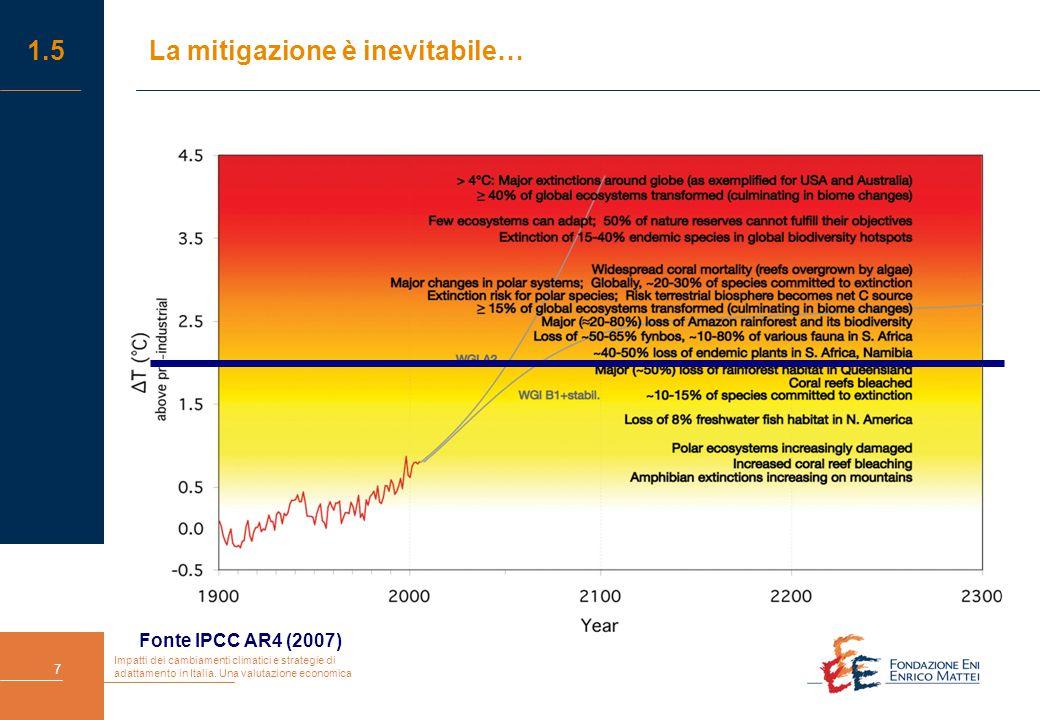 Impatti dei cambiamenti climatici e strategie di adattamento in Italia. Una valutazione economica 7 1.5La mitigazione è inevitabile… Fonte IPCC AR4 (2