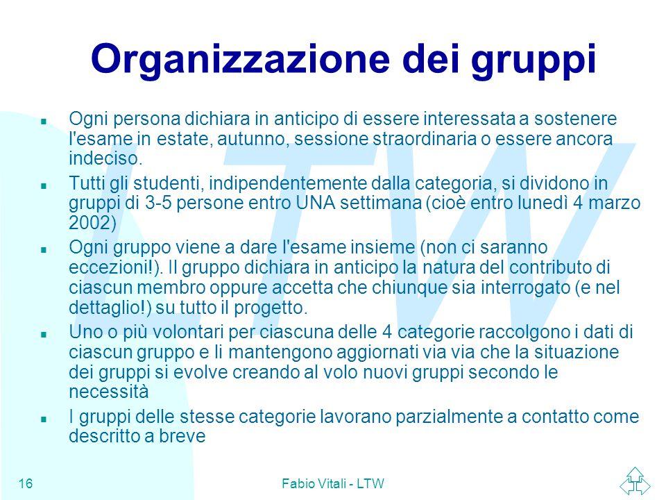 LTW Fabio Vitali - LTW16 Organizzazione dei gruppi n Ogni persona dichiara in anticipo di essere interessata a sostenere l esame in estate, autunno, sessione straordinaria o essere ancora indeciso.