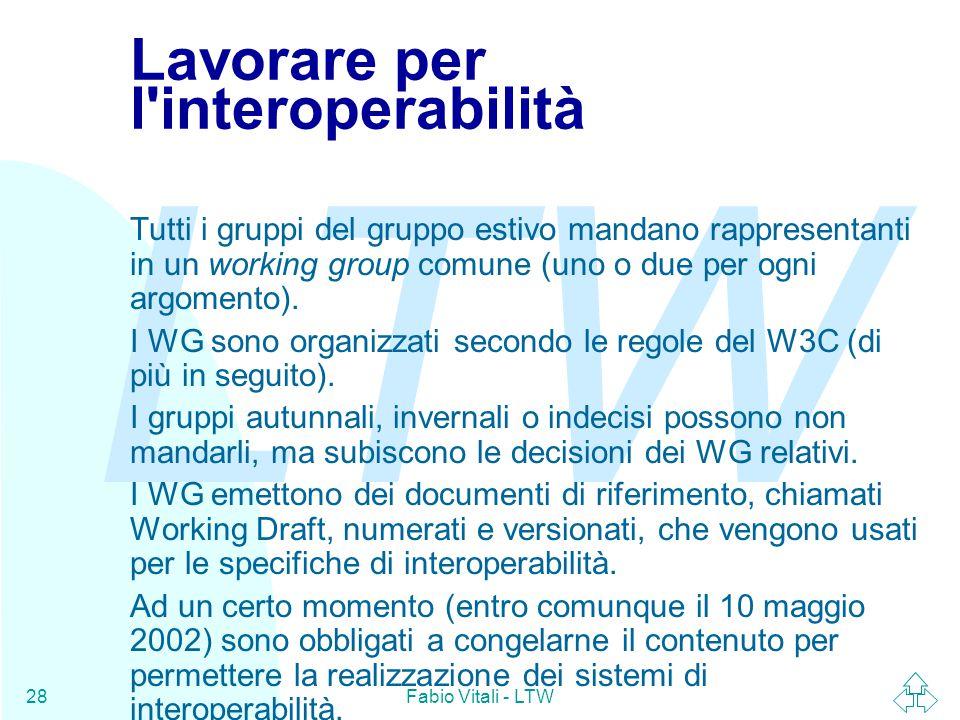 LTW Fabio Vitali - LTW28 Lavorare per l interoperabilità Tutti i gruppi del gruppo estivo mandano rappresentanti in un working group comune (uno o due per ogni argomento).