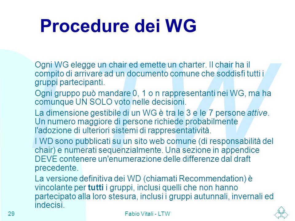 LTW Fabio Vitali - LTW29 Procedure dei WG Ogni WG elegge un chair ed emette un charter.
