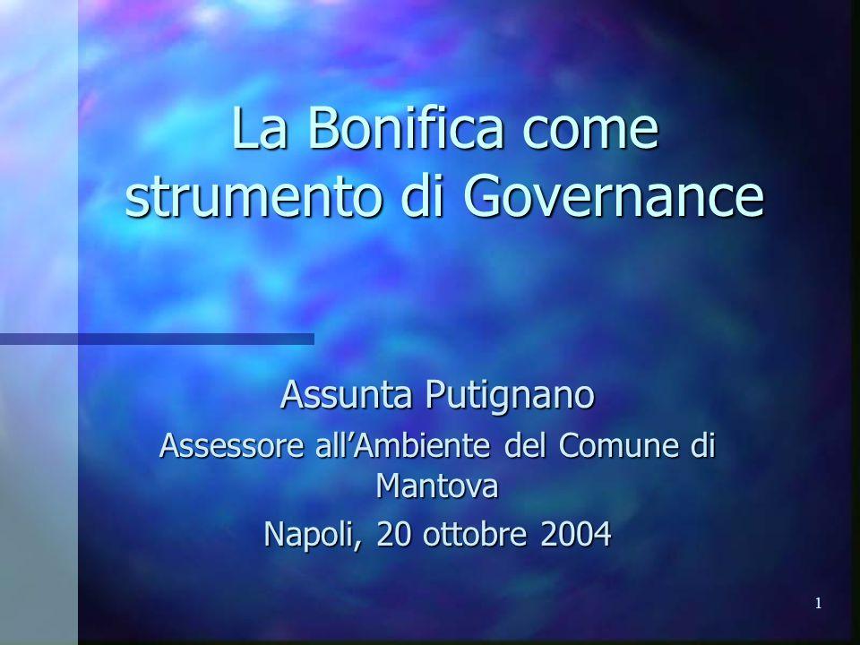 1 La Bonifica come strumento di Governance Assunta Putignano Assessore all'Ambiente del Comune di Mantova Napoli, 20 ottobre 2004