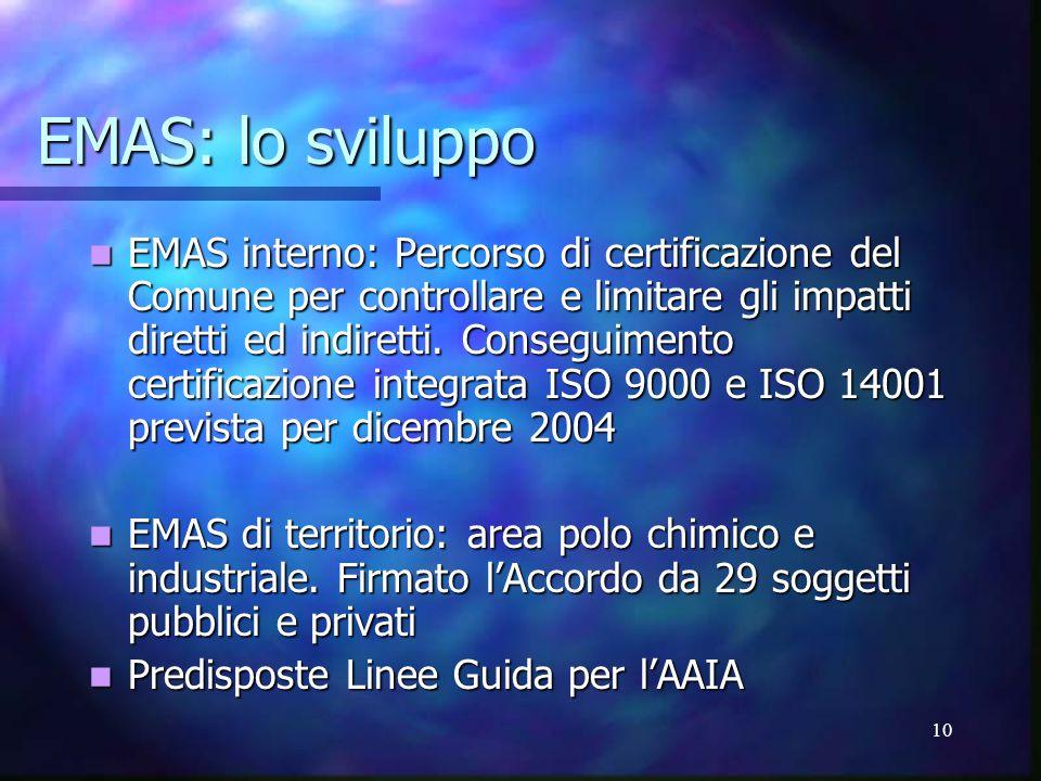 10 EMAS: lo sviluppo EMAS interno: Percorso di certificazione del Comune per controllare e limitare gli impatti diretti ed indiretti.