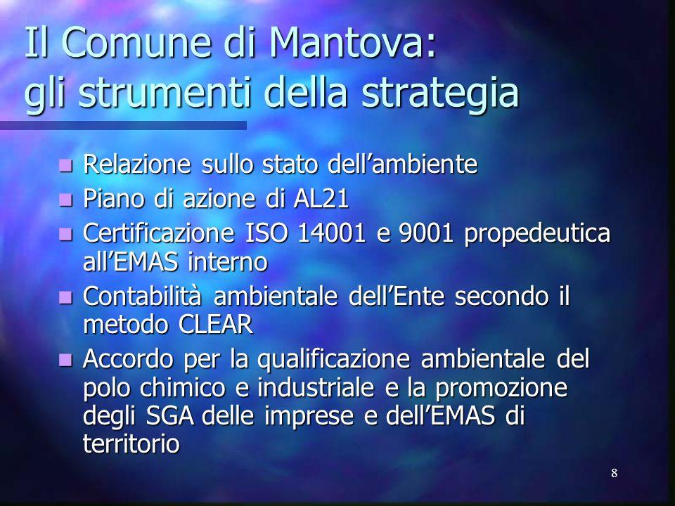 8 Il Comune di Mantova: gli strumenti della strategia Relazione sullo stato dell'ambiente Relazione sullo stato dell'ambiente Piano di azione di AL21 Piano di azione di AL21 Certificazione ISO 14001 e 9001 propedeutica all'EMAS interno Certificazione ISO 14001 e 9001 propedeutica all'EMAS interno Contabilità ambientale dell'Ente secondo il metodo CLEAR Contabilità ambientale dell'Ente secondo il metodo CLEAR Accordo per la qualificazione ambientale del polo chimico e industriale e la promozione degli SGA delle imprese e dell'EMAS di territorio Accordo per la qualificazione ambientale del polo chimico e industriale e la promozione degli SGA delle imprese e dell'EMAS di territorio