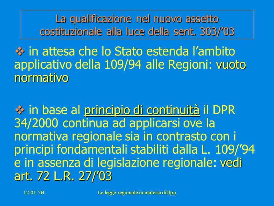 12.01.'04La legge regionale in materia di llpp La qualificazione nel nuovo assetto costituzionale alla luce della sent. 303/'03  vuoto normativo  in