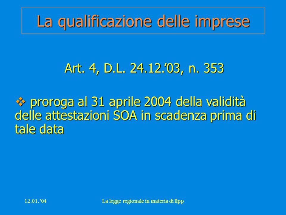 12.01.'04La legge regionale in materia di llpp La qualificazione delle imprese Art. 4, D.L. 24.12.'03, n. 353  proroga al 31 aprile 2004 della validi