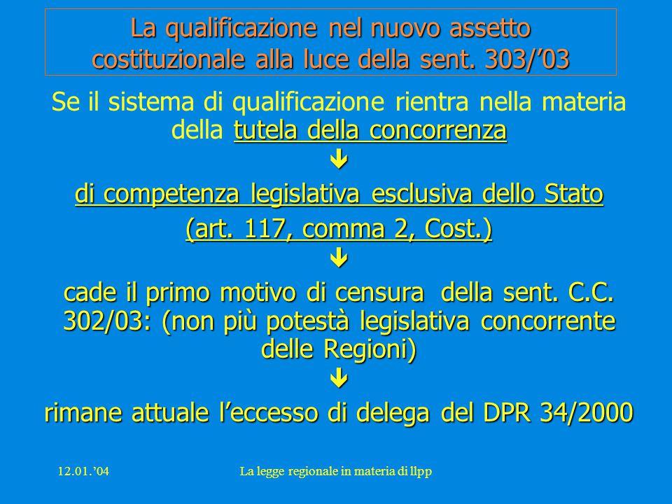 12.01.'04La legge regionale in materia di llpp La qualificazione nel nuovo assetto costituzionale alla luce della sent. 303/'03 tutela della concorren