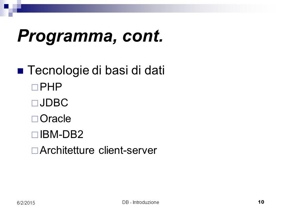 DB - Introduzione10 6/2/2015 Tecnologie di basi di dati  PHP  JDBC  Oracle  IBM-DB2  Architetture client-server Programma, cont.
