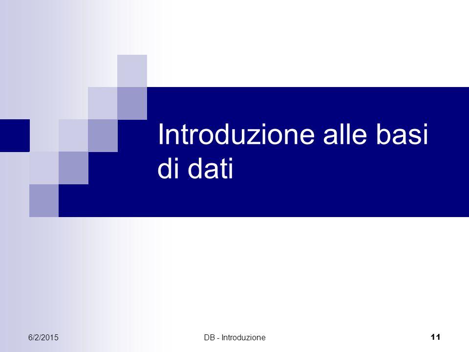 6/2/2015DB - Introduzione 11 Introduzione alle basi di dati