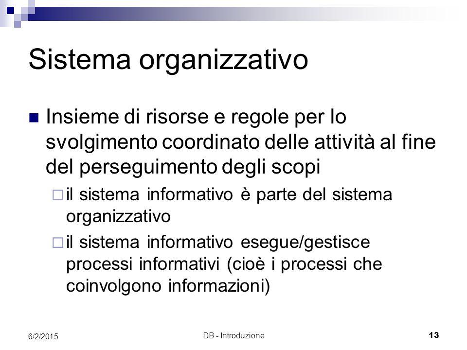 DB - Introduzione13 6/2/2015 Sistema organizzativo Insieme di risorse e regole per lo svolgimento coordinato delle attività al fine del perseguimento degli scopi  il sistema informativo è parte del sistema organizzativo  il sistema informativo esegue/gestisce processi informativi (cioè i processi che coinvolgono informazioni)