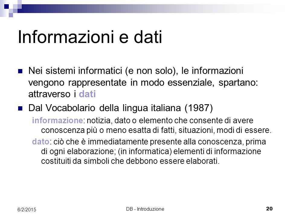 DB - Introduzione20 6/2/2015 Informazioni e dati Nei sistemi informatici (e non solo), le informazioni vengono rappresentate in modo essenziale, spart