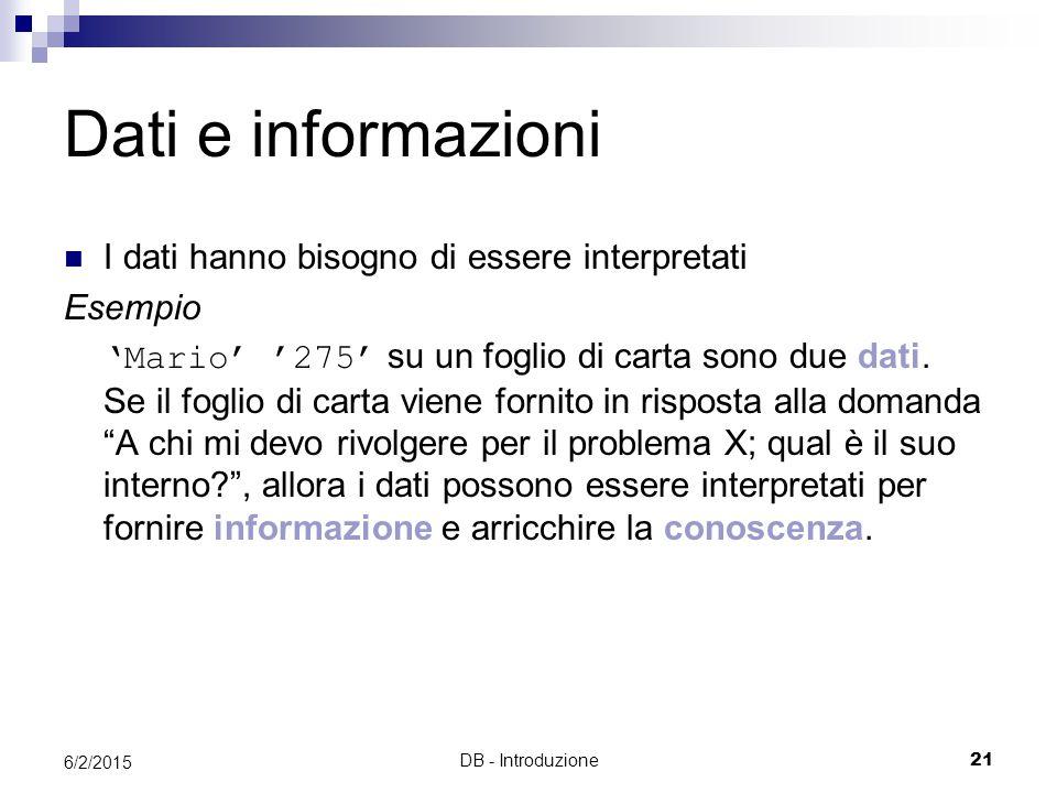 DB - Introduzione21 6/2/2015 Dati e informazioni I dati hanno bisogno di essere interpretati Esempio 'Mario' '275' su un foglio di carta sono due dati
