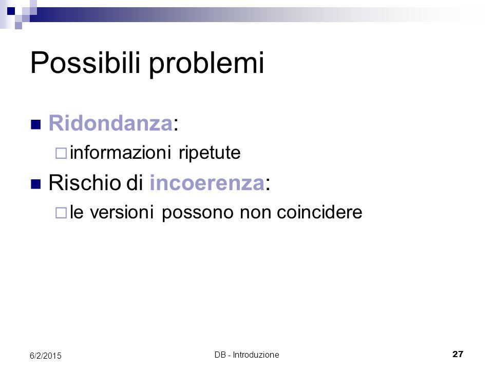 DB - Introduzione27 6/2/2015 Possibili problemi Ridondanza:  informazioni ripetute Rischio di incoerenza:  le versioni possono non coincidere