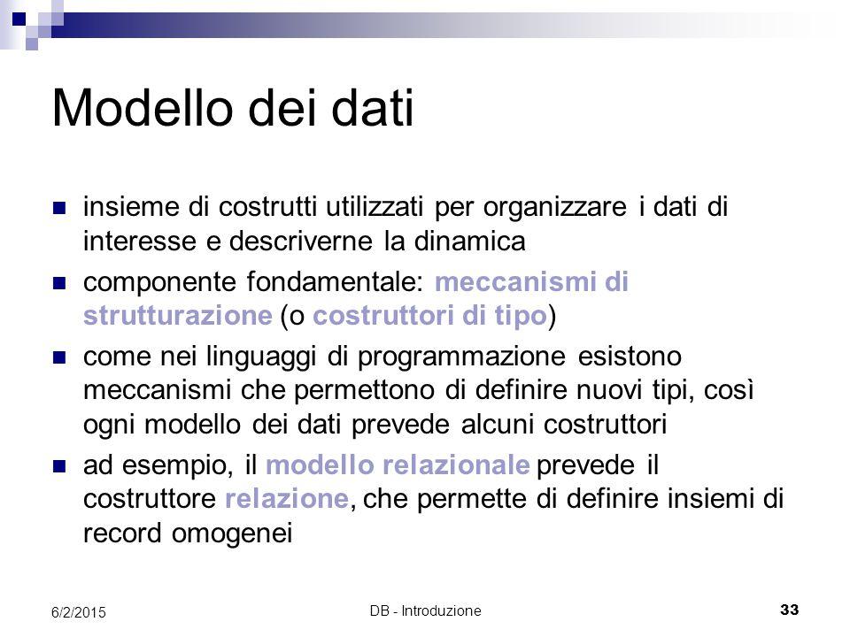 DB - Introduzione33 6/2/2015 Modello dei dati insieme di costrutti utilizzati per organizzare i dati di interesse e descriverne la dinamica componente