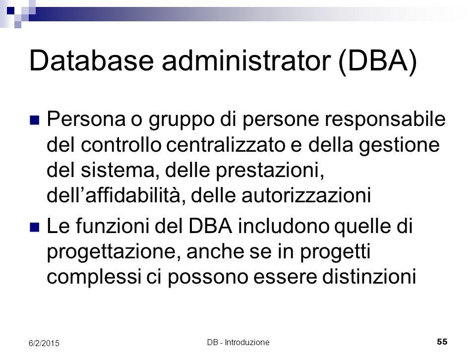DB - Introduzione55 6/2/2015 Database administrator (DBA) Persona o gruppo di persone responsabile del controllo centralizzato e della gestione del sistema, delle prestazioni, dell'affidabilità, delle autorizzazioni Le funzioni del DBA includono quelle di progettazione, anche se in progetti complessi ci possono essere distinzioni