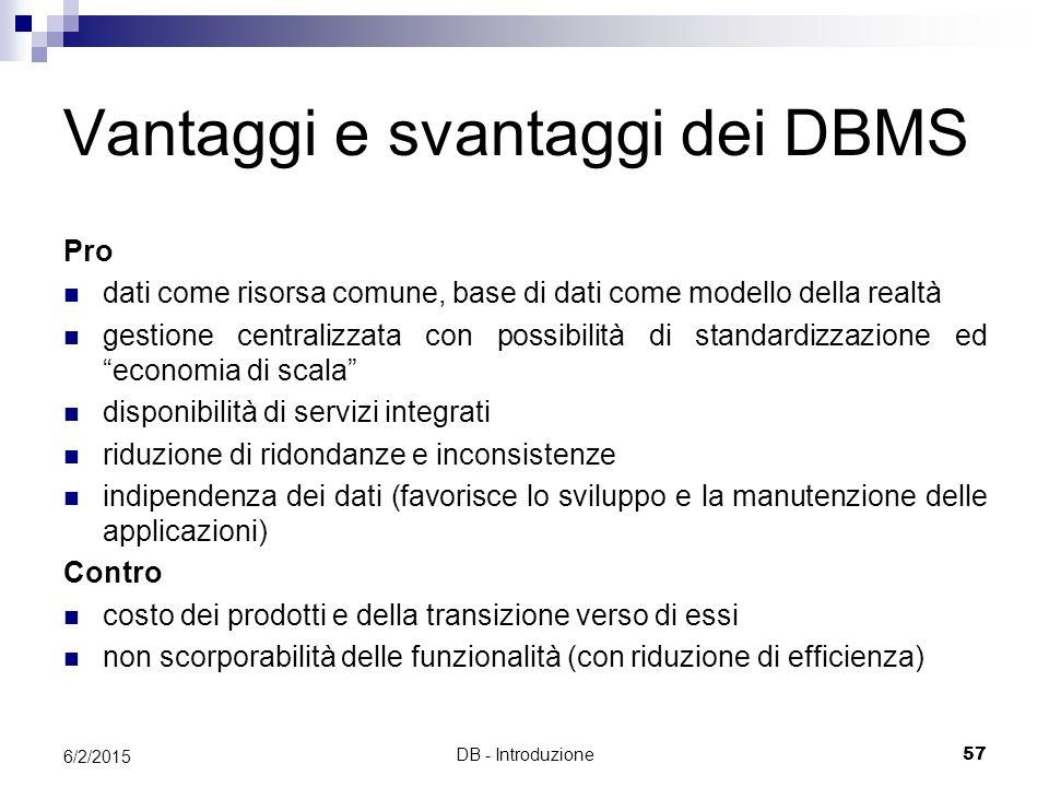 DB - Introduzione57 6/2/2015 Vantaggi e svantaggi dei DBMS Pro dati come risorsa comune, base di dati come modello della realtà gestione centralizzata