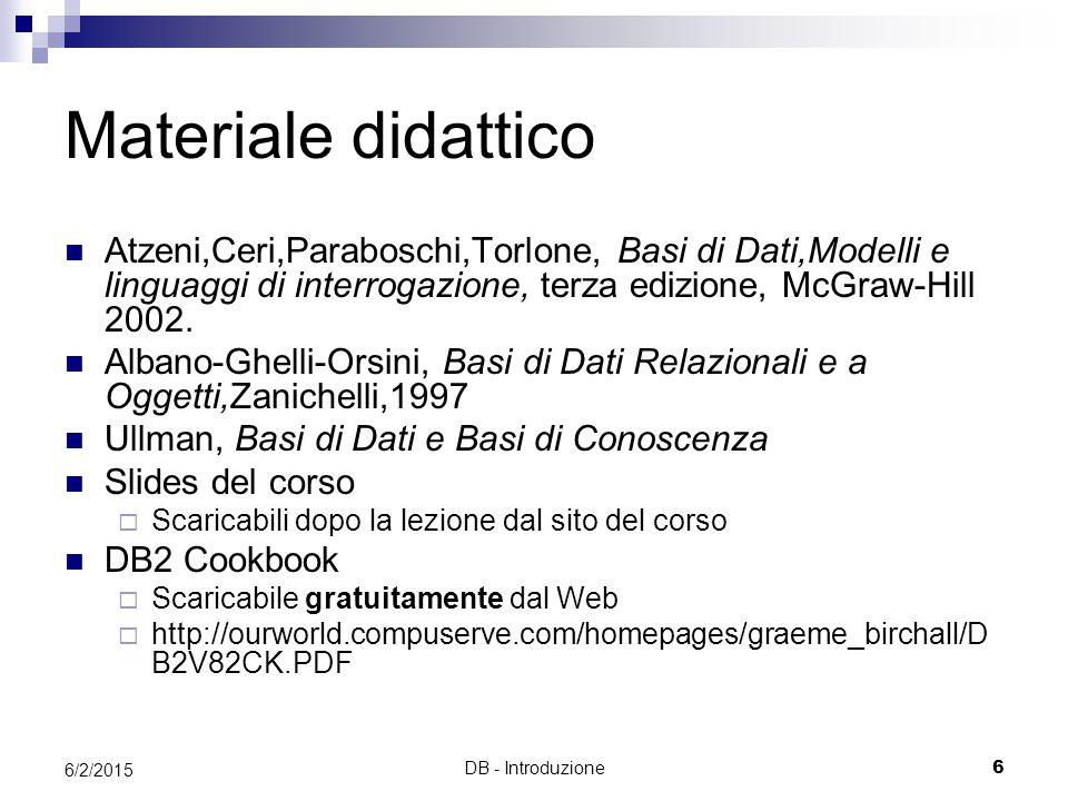DB - Introduzione6 6/2/2015 Materiale didattico Atzeni,Ceri,Paraboschi,Torlone, Basi di Dati,Modelli e linguaggi di interrogazione, terza edizione, McGraw-Hill 2002.