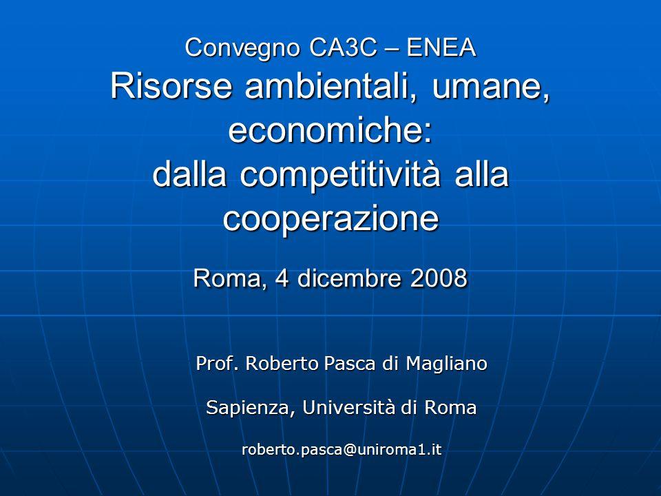 Convegno CA3C – ENEA Risorse ambientali, umane, economiche: dalla competitività alla cooperazione Roma, 4 dicembre 2008 Prof.