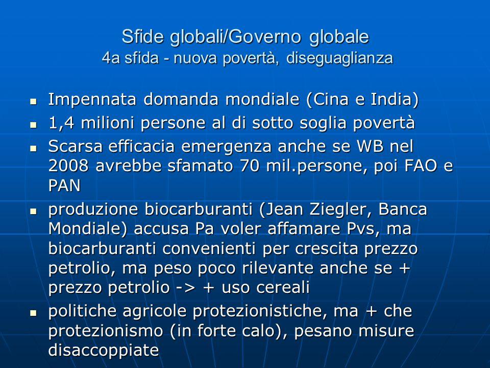 Sfide globali/Governo globale 4a sfida - nuova povertà, diseguaglianza Impennata domanda mondiale (Cina e India) Impennata domanda mondiale (Cina e India) 1,4 milioni persone al di sotto soglia povertà 1,4 milioni persone al di sotto soglia povertà Scarsa efficacia emergenza anche se WB nel 2008 avrebbe sfamato 70 mil.persone, poi FAO e PAN Scarsa efficacia emergenza anche se WB nel 2008 avrebbe sfamato 70 mil.persone, poi FAO e PAN produzione biocarburanti (Jean Ziegler, Banca Mondiale) accusa Pa voler affamare Pvs, ma biocarburanti convenienti per crescita prezzo petrolio, ma peso poco rilevante anche se + prezzo petrolio -> + uso cereali produzione biocarburanti (Jean Ziegler, Banca Mondiale) accusa Pa voler affamare Pvs, ma biocarburanti convenienti per crescita prezzo petrolio, ma peso poco rilevante anche se + prezzo petrolio -> + uso cereali politiche agricole protezionistiche, ma + che protezionismo (in forte calo), pesano misure disaccoppiate politiche agricole protezionistiche, ma + che protezionismo (in forte calo), pesano misure disaccoppiate