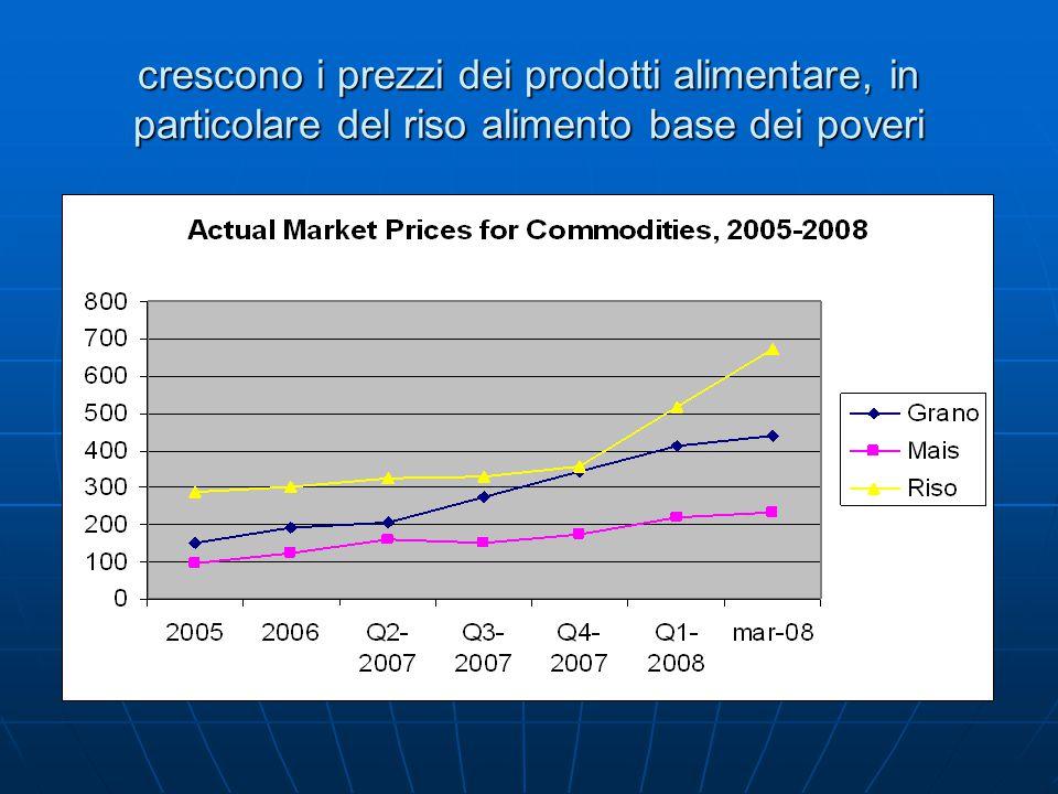crescono i prezzi dei prodotti alimentare, in particolare del riso alimento base dei poveri