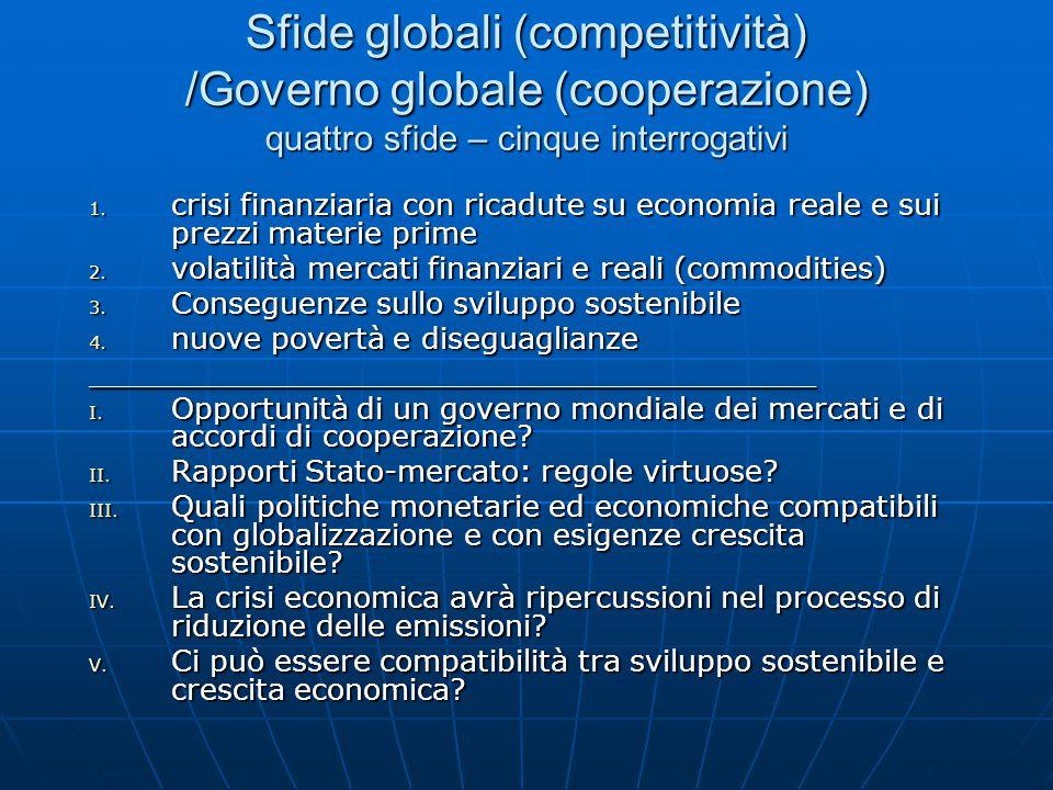 Sfide globali (competitività) /Governo globale (cooperazione) quattro sfide – cinque interrogativi 1.