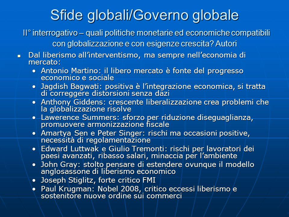 Sfide globali/Governo globale II° interrogativo – quali politiche monetarie ed economiche compatibili con globalizzazione e con esigenze crescita.