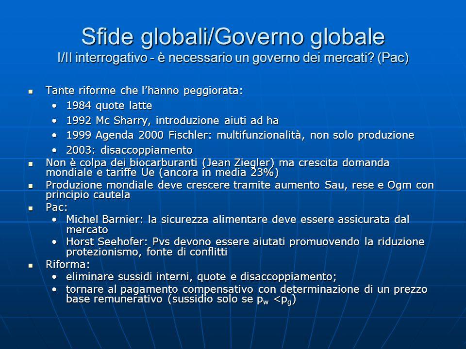 Sfide globali/Governo globale I/II interrogativo - è necessario un governo dei mercati.