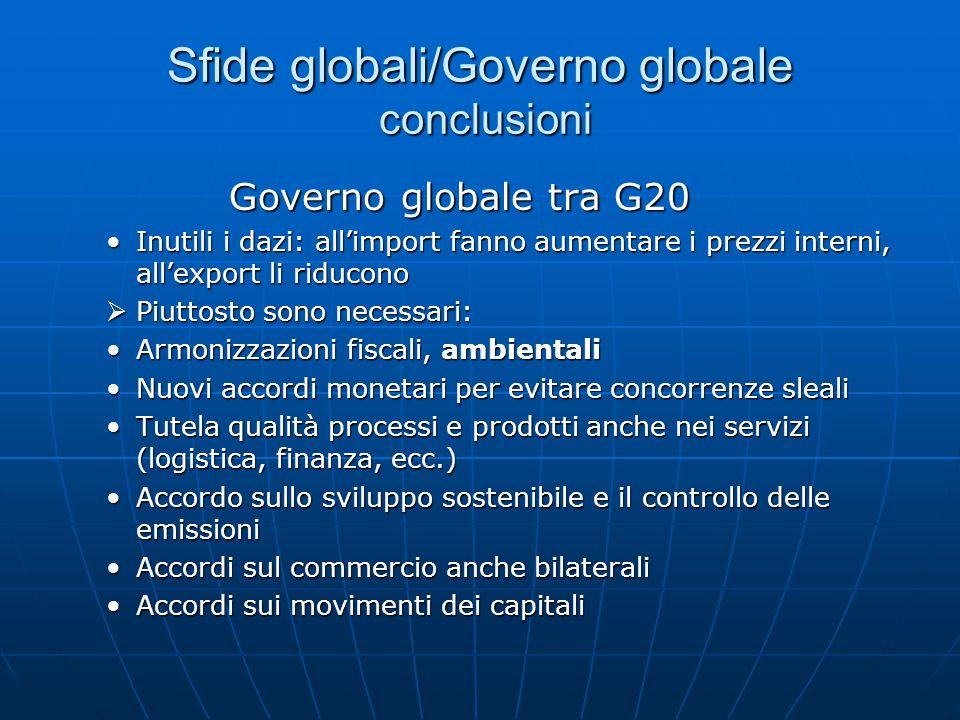 Sfide globali/Governo globale conclusioni Governo globale tra G20 Governo globale tra G20 Inutili i dazi: all'import fanno aumentare i prezzi interni, all'export li riduconoInutili i dazi: all'import fanno aumentare i prezzi interni, all'export li riducono  Piuttosto sono necessari: Armonizzazioni fiscali, ambientaliArmonizzazioni fiscali, ambientali Nuovi accordi monetari per evitare concorrenze slealiNuovi accordi monetari per evitare concorrenze sleali Tutela qualità processi e prodotti anche nei servizi (logistica, finanza, ecc.)Tutela qualità processi e prodotti anche nei servizi (logistica, finanza, ecc.) Accordo sullo sviluppo sostenibile e il controllo delle emissioniAccordo sullo sviluppo sostenibile e il controllo delle emissioni Accordi sul commercio anche bilateraliAccordi sul commercio anche bilaterali Accordi sui movimenti dei capitaliAccordi sui movimenti dei capitali