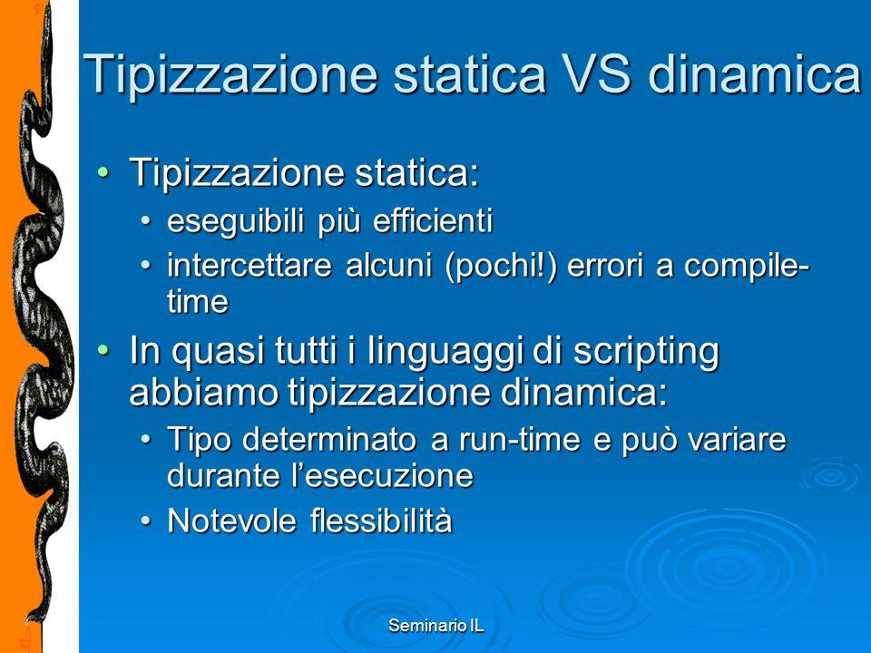 Seminario IL Tipizzazione statica VS dinamica Tipizzazione statica:Tipizzazione statica: eseguibili più efficientieseguibili più efficienti intercetta