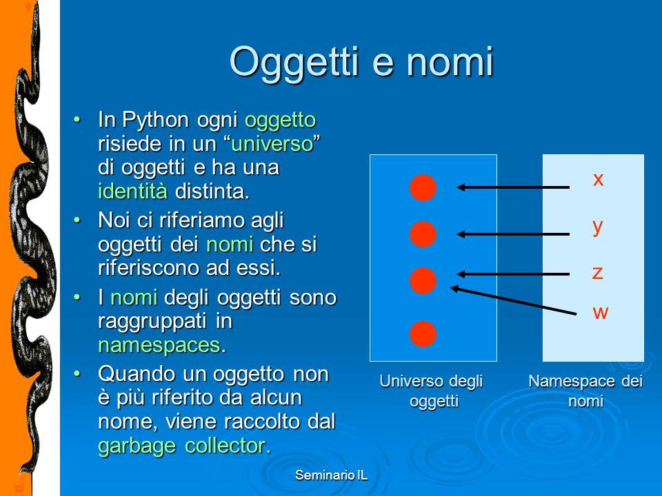 """Seminario IL Oggetti e nomi In Python ogni oggetto risiede in un """"universo"""" di oggetti e ha una identità distinta.In Python ogni oggetto risiede in un"""