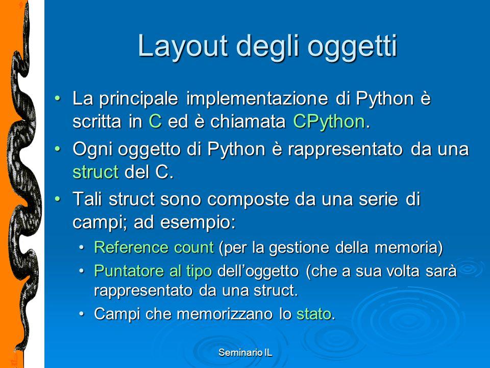 Seminario IL Layout degli oggetti La principale implementazione di Python è scritta in C ed è chiamata CPython.La principale implementazione di Python