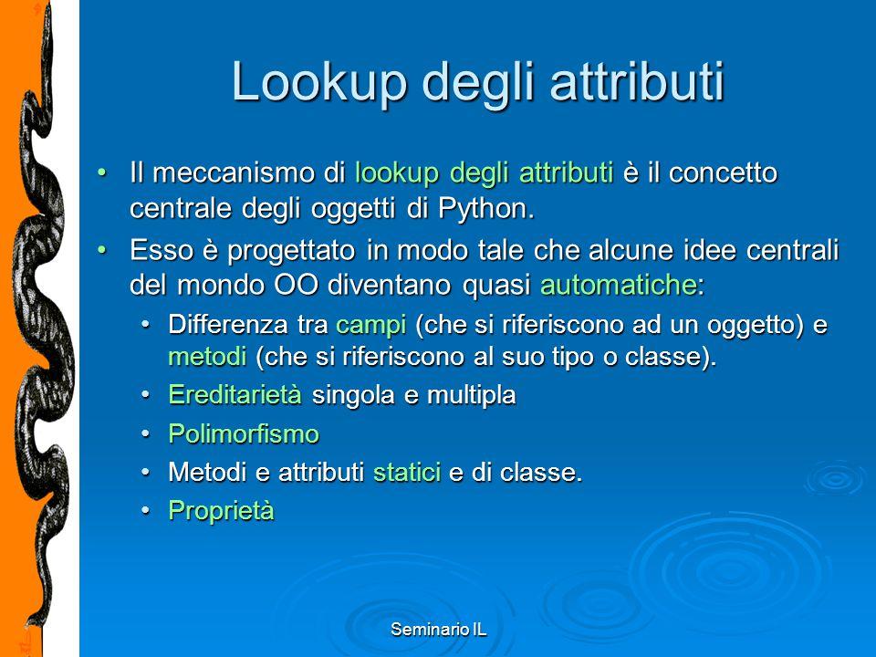 Seminario IL Lookup degli attributi Il meccanismo di lookup degli attributi è il concetto centrale degli oggetti di Python.Il meccanismo di lookup deg
