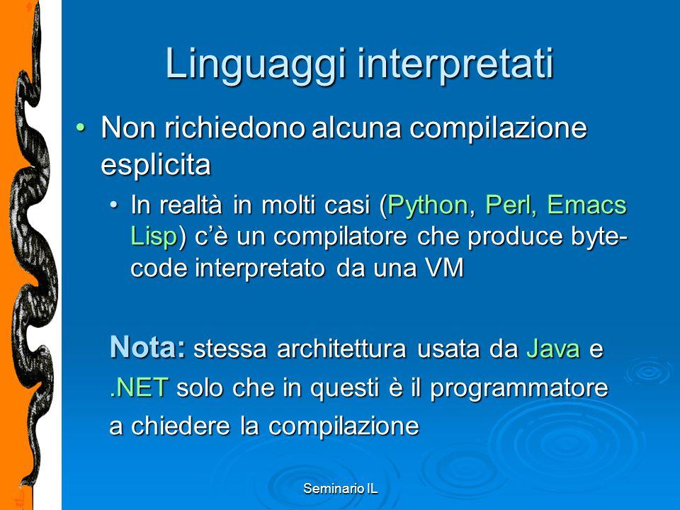 Seminario IL PyObject_GetAttr A questo punto possiamo esaminare la funzione PyObject_GetAttr, definita in Objects/object.c:A questo punto possiamo esaminare la funzione PyObject_GetAttr, definita in Objects/object.c: PyObject * PyObject_GetAttr(PyObject *v, PyObject *name) { PyTypeObject *tp = v->ob_type;...