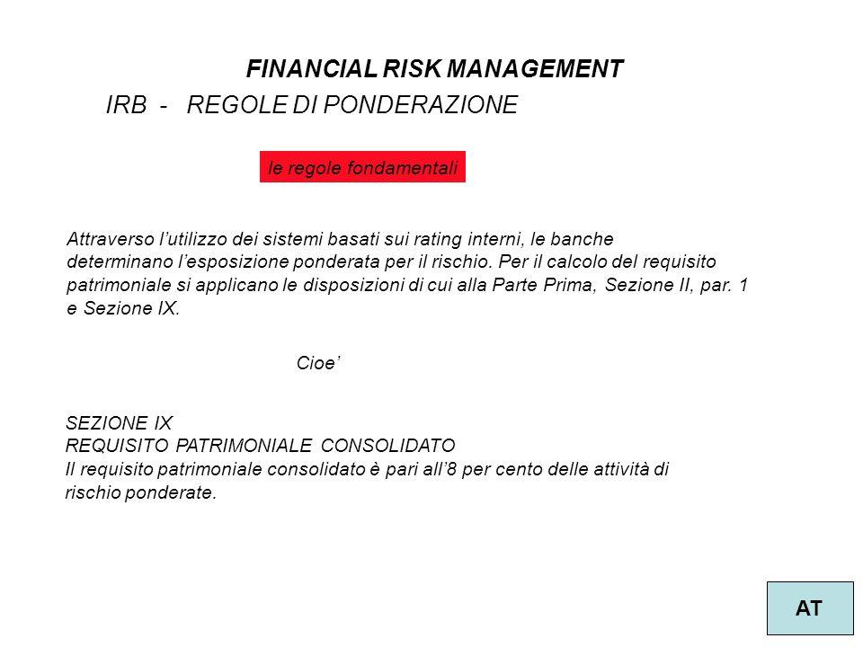 1 FINANCIAL RISK MANAGEMENT AT IRB - REGOLE DI PONDERAZIONE Attraverso l'utilizzo dei sistemi basati sui rating interni, le banche determinano l'espos