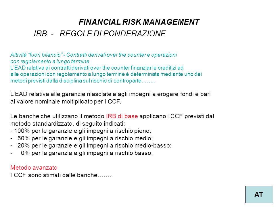 """10 FINANCIAL RISK MANAGEMENT AT IRB - REGOLE DI PONDERAZIONE Attività """"fuori bilancio"""" - Contratti derivati over the counter e operazioni con regolame"""