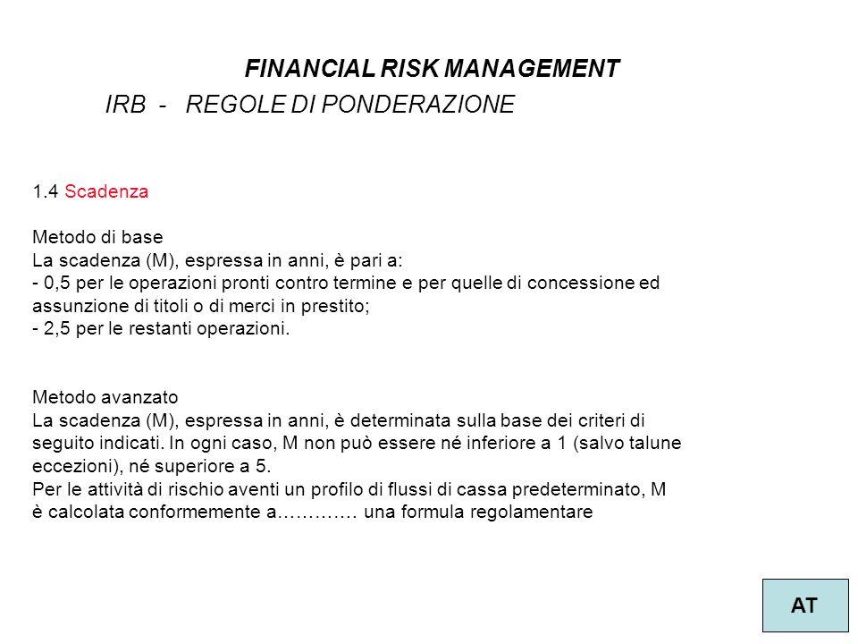 11 FINANCIAL RISK MANAGEMENT AT IRB - REGOLE DI PONDERAZIONE 1.4 Scadenza Metodo di base La scadenza (M), espressa in anni, è pari a: - 0,5 per le ope