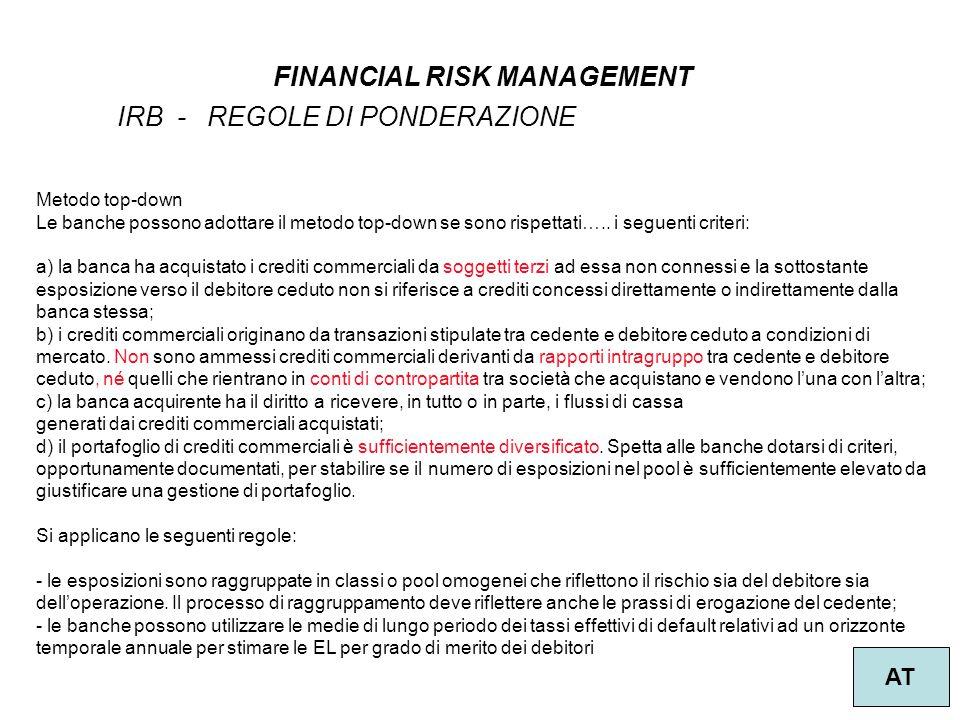 14 FINANCIAL RISK MANAGEMENT AT IRB - REGOLE DI PONDERAZIONE Metodo top-down Le banche possono adottare il metodo top-down se sono rispettati….. i seg