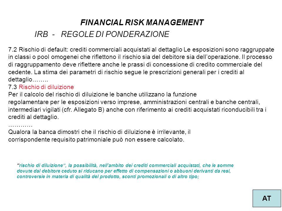 15 FINANCIAL RISK MANAGEMENT AT IRB - REGOLE DI PONDERAZIONE 7.2 Rischio di default: crediti commerciali acquistati al dettaglio Le esposizioni sono r