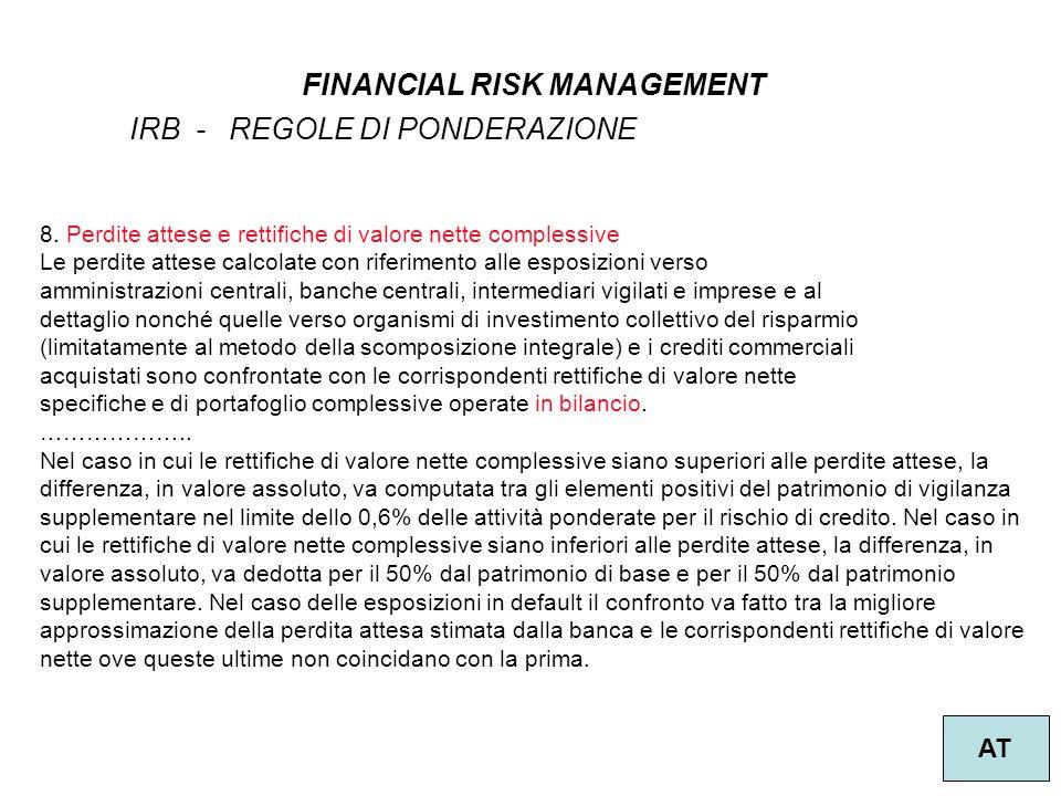 16 FINANCIAL RISK MANAGEMENT AT IRB - REGOLE DI PONDERAZIONE 8. Perdite attese e rettifiche di valore nette complessive Le perdite attese calcolate co