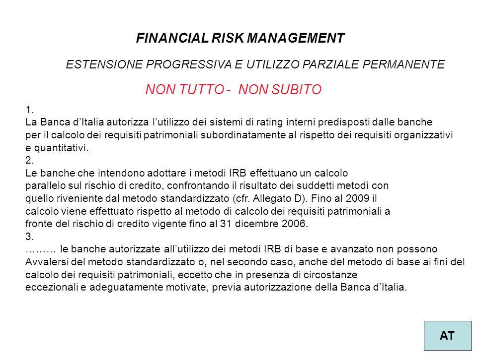 17 FINANCIAL RISK MANAGEMENT AT 1. La Banca d'Italia autorizza l'utilizzo dei sistemi di rating interni predisposti dalle banche per il calcolo dei re
