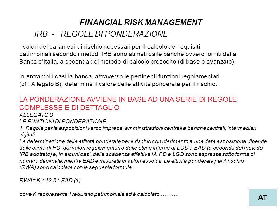2 FINANCIAL RISK MANAGEMENT AT IRB - REGOLE DI PONDERAZIONE I valori dei parametri di rischio necessari per il calcolo dei requisiti patrimoniali seco