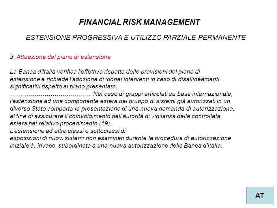 20 FINANCIAL RISK MANAGEMENT AT ESTENSIONE PROGRESSIVA E UTILIZZO PARZIALE PERMANENTE 3. Attuazione del piano di estensione La Banca d'Italia verifica