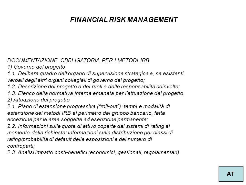 26 FINANCIAL RISK MANAGEMENT AT DOCUMENTAZIONE OBBLIGATORIA PER I METODI IRB 1) Governo del progetto 1.1. Delibera quadro dell'organo di supervisione