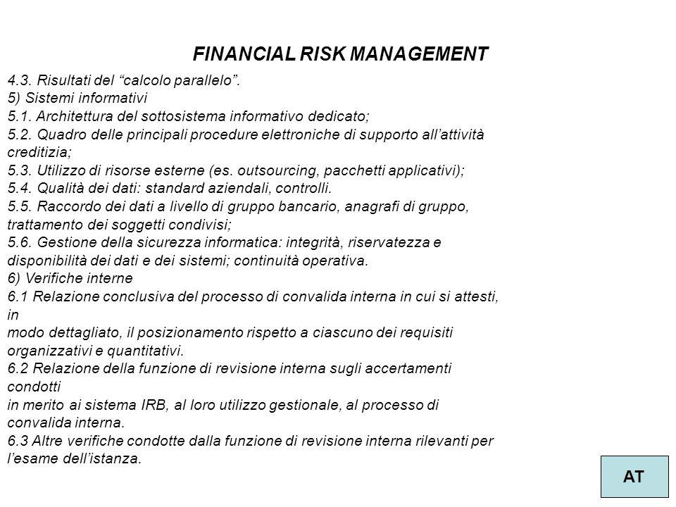 """28 FINANCIAL RISK MANAGEMENT AT 4.3. Risultati del """"calcolo parallelo"""". 5) Sistemi informativi 5.1. Architettura del sottosistema informativo dedicato"""