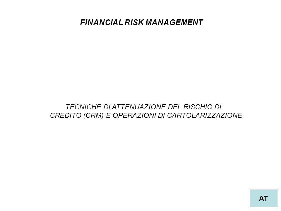 29 FINANCIAL RISK MANAGEMENT AT TECNICHE DI ATTENUAZIONE DEL RISCHIO DI CREDITO (CRM) E OPERAZIONI DI CARTOLARIZZAZIONE