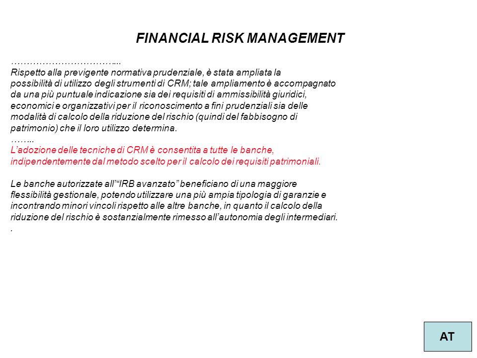 30 FINANCIAL RISK MANAGEMENT AT ……………………………... Rispetto alla previgente normativa prudenziale, è stata ampliata la possibilità di utilizzo degli strum