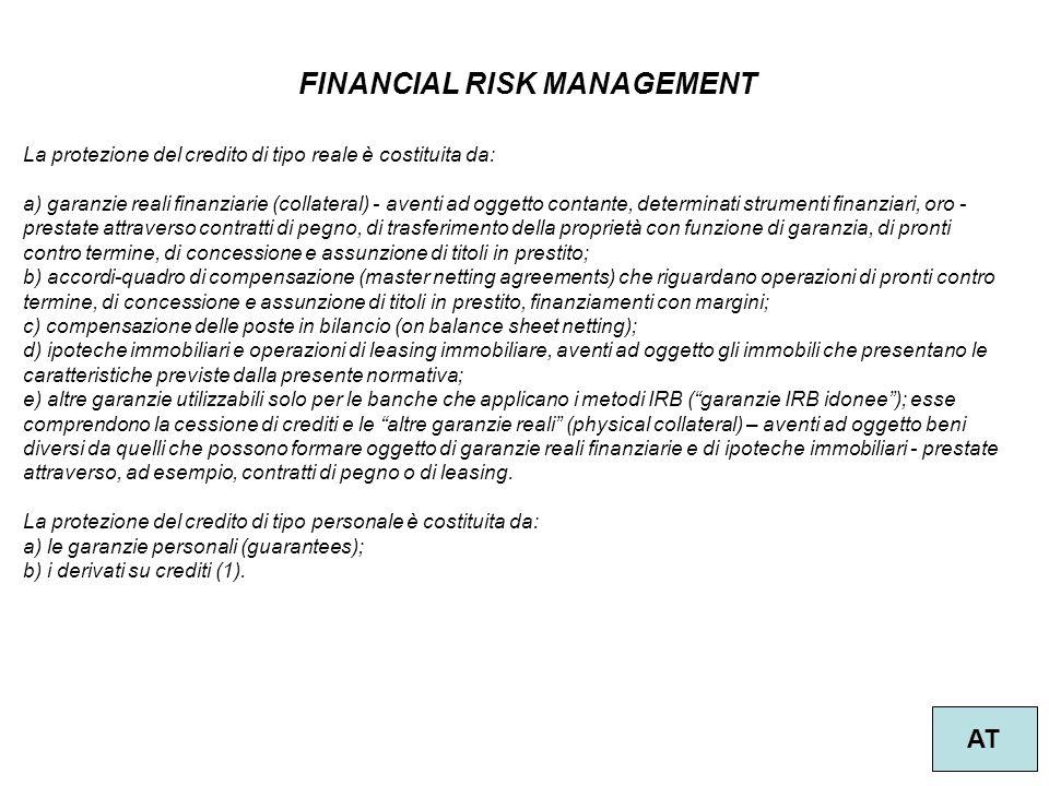31 FINANCIAL RISK MANAGEMENT AT La protezione del credito di tipo reale è costituita da: a) garanzie reali finanziarie (collateral) - aventi ad oggett