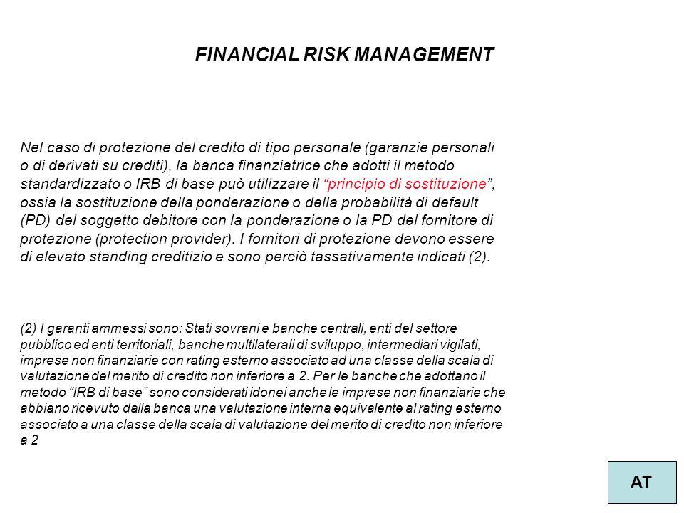 33 FINANCIAL RISK MANAGEMENT AT Nel caso di protezione del credito di tipo personale (garanzie personali o di derivati su crediti), la banca finanziat