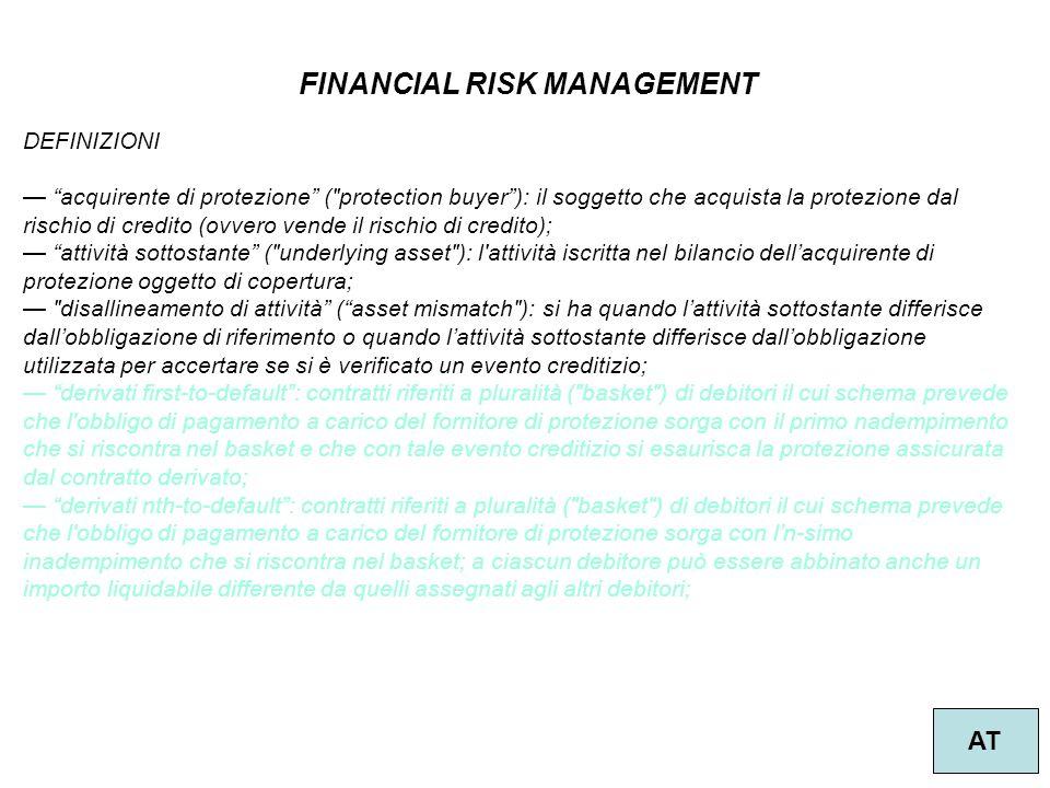 """34 FINANCIAL RISK MANAGEMENT AT DEFINIZIONI — """"acquirente di protezione"""" ("""